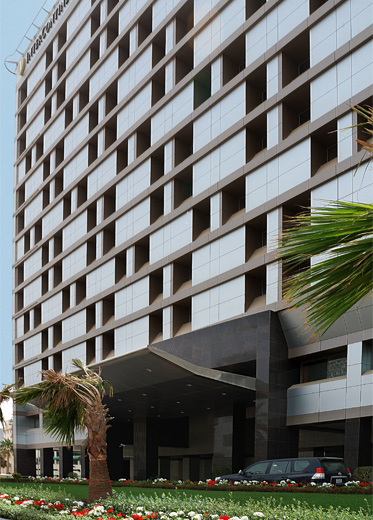 The new main entrance facade of the InterContinental Hotel in Bahrain.
