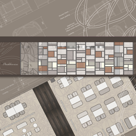 Concept drawings for a steakhouse restaurant design.