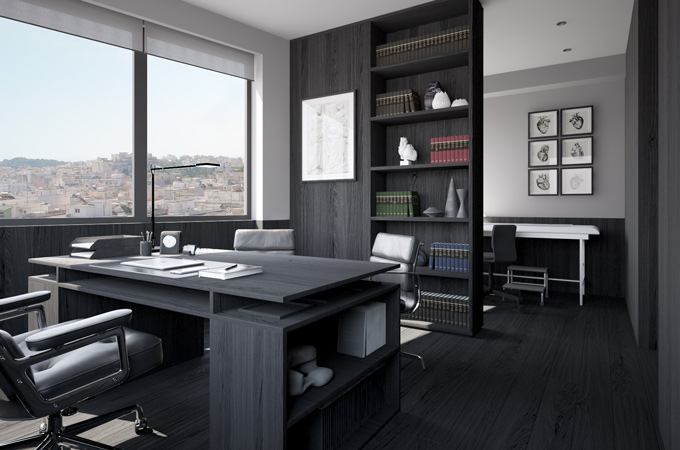 A modern dark office design with bespoke desk, bookcase, floors and wall paneling all in black oak.