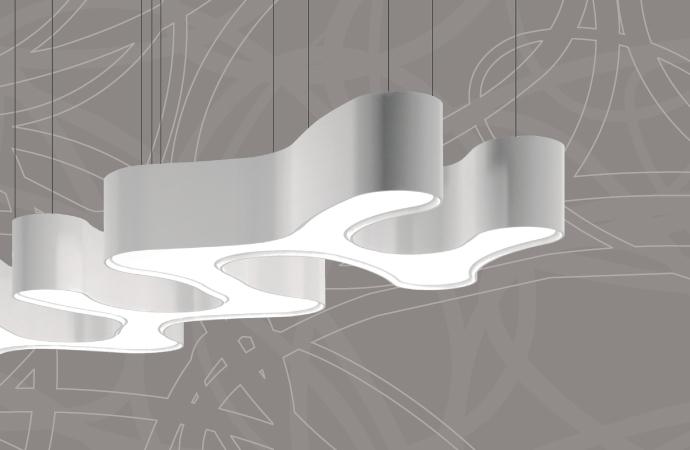 A concept image of Legendz Steakhouse free form design elements.