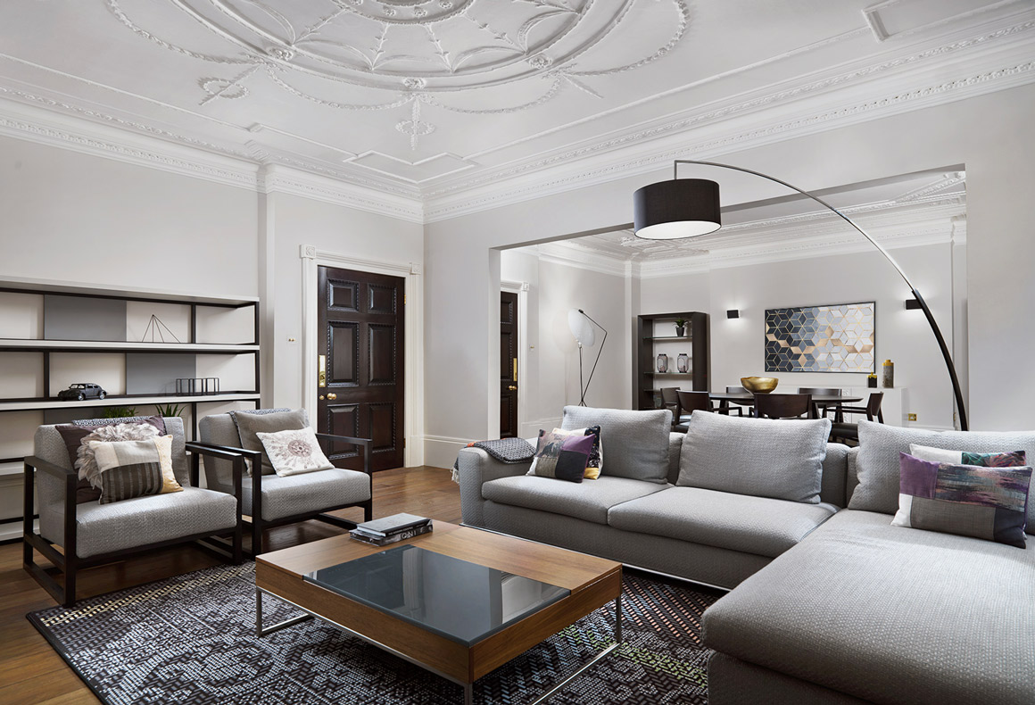 A modern meets classic home interior with a timeless and comfortable elegance.