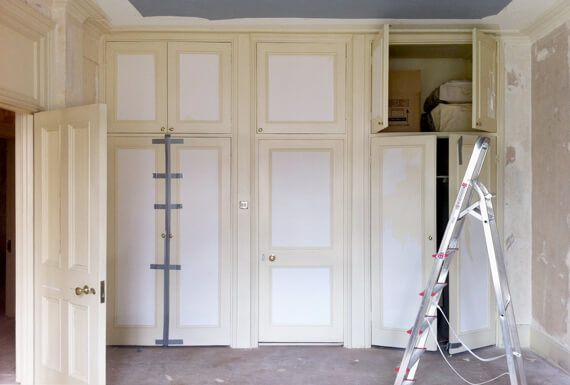 The master bedroom wardrobes before the renovation.