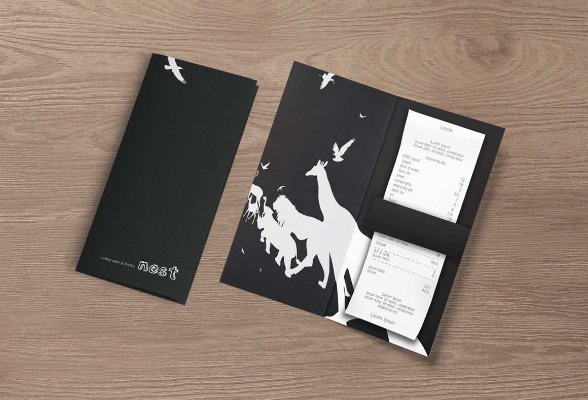 A branded bill folder for Nest Restaurant in a black and white scheme with animal silhouettes.