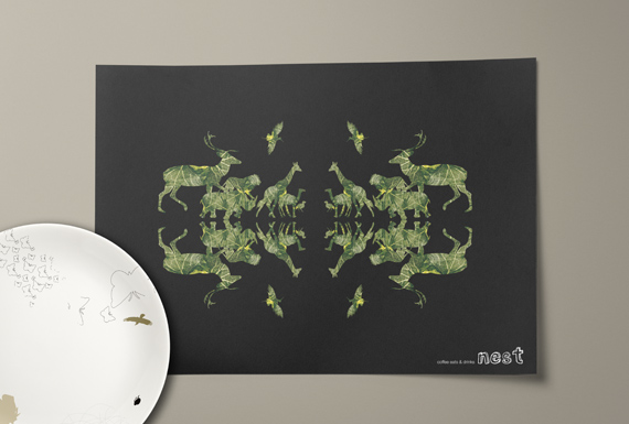 A restaurant placemat design with textured animal silhouettes reflected to create a pattern.
