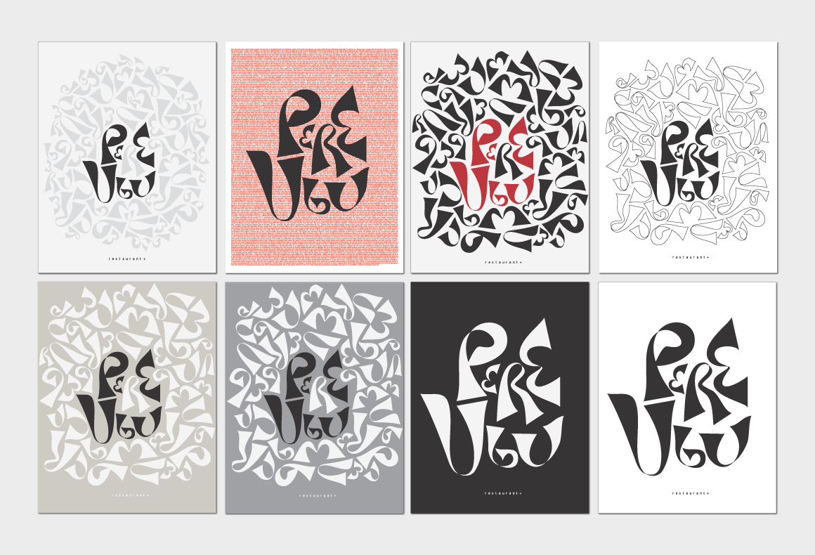 The conceptual development of a restaurant logo and patterns.
