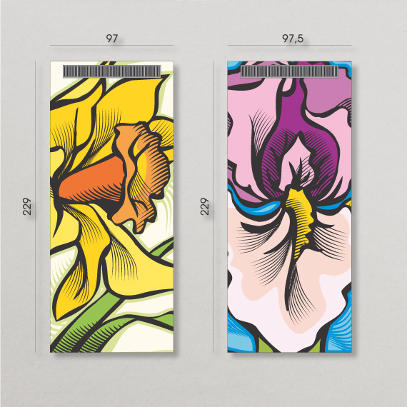 Graphic design illustrations for restroom walls with bold enlarged flowers with subtle references to gender.