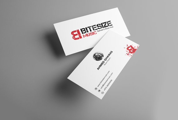 The logo and business card designs for Bitesize Music.