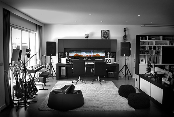 The modern black and white interiors of Bitesize Music production studio.