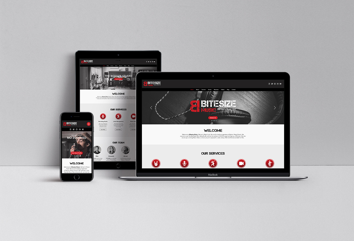 Responsive web design and development across devices for Bitesize Music.