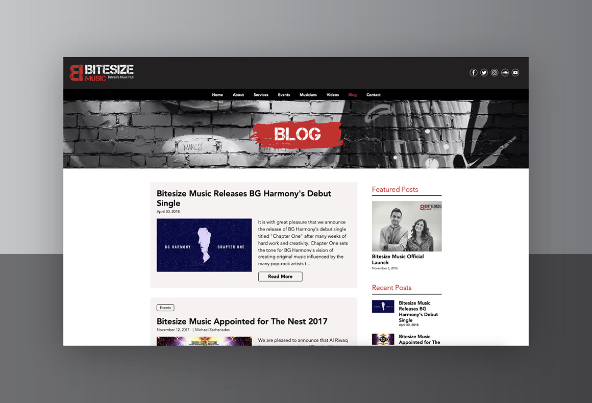 CMS web design for the Blog page of Bitesize Music website.
