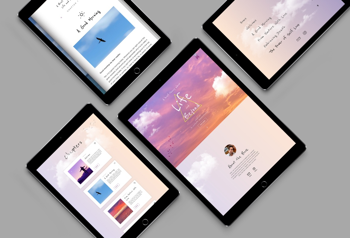 A responsive e-book website design, using Webflow, displayed across several devices.