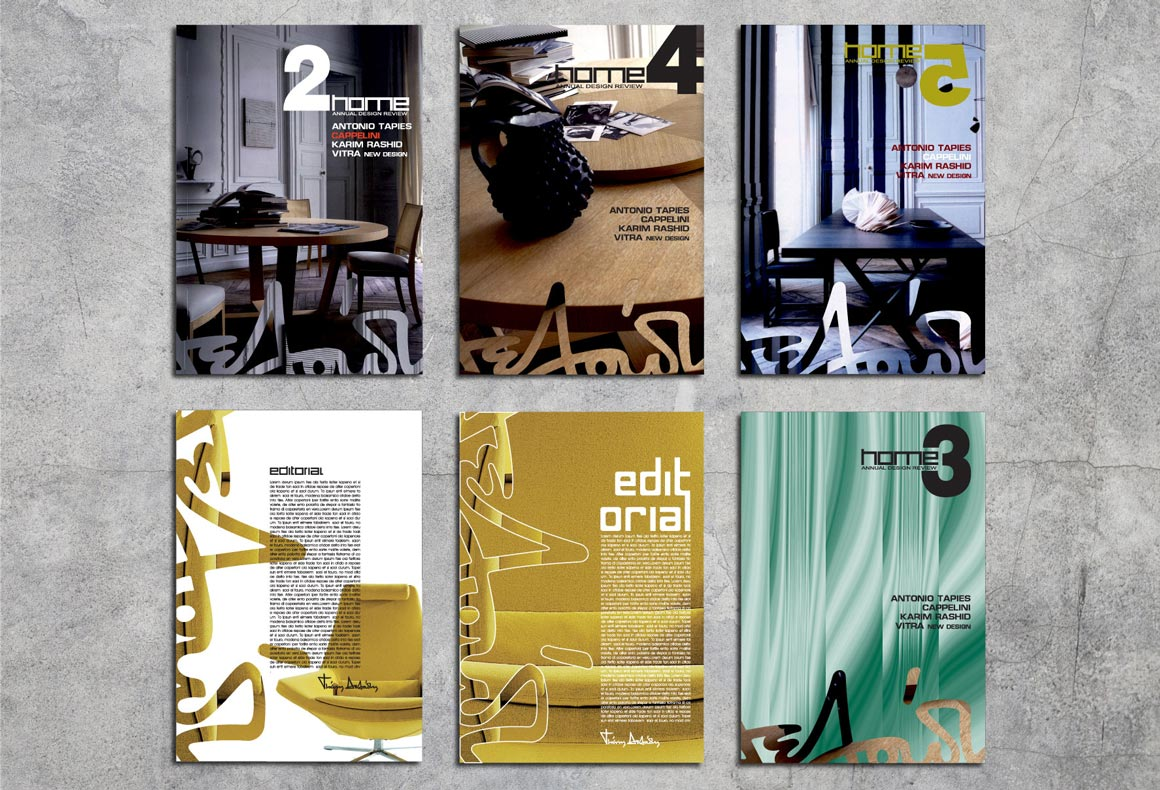 The covers of 6 editorials designed for Deloudis furniture.