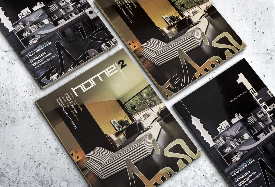 Several covers of interior design and furniture magazines designed for Deloudis.