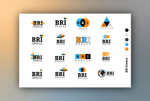 Logo design variations for BRI Greece.