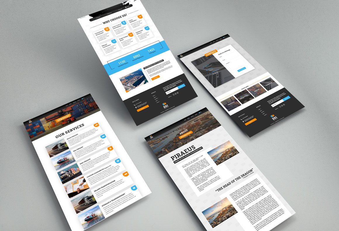 Custom web design layouts for BRI Greece corporate website by Reform Design.