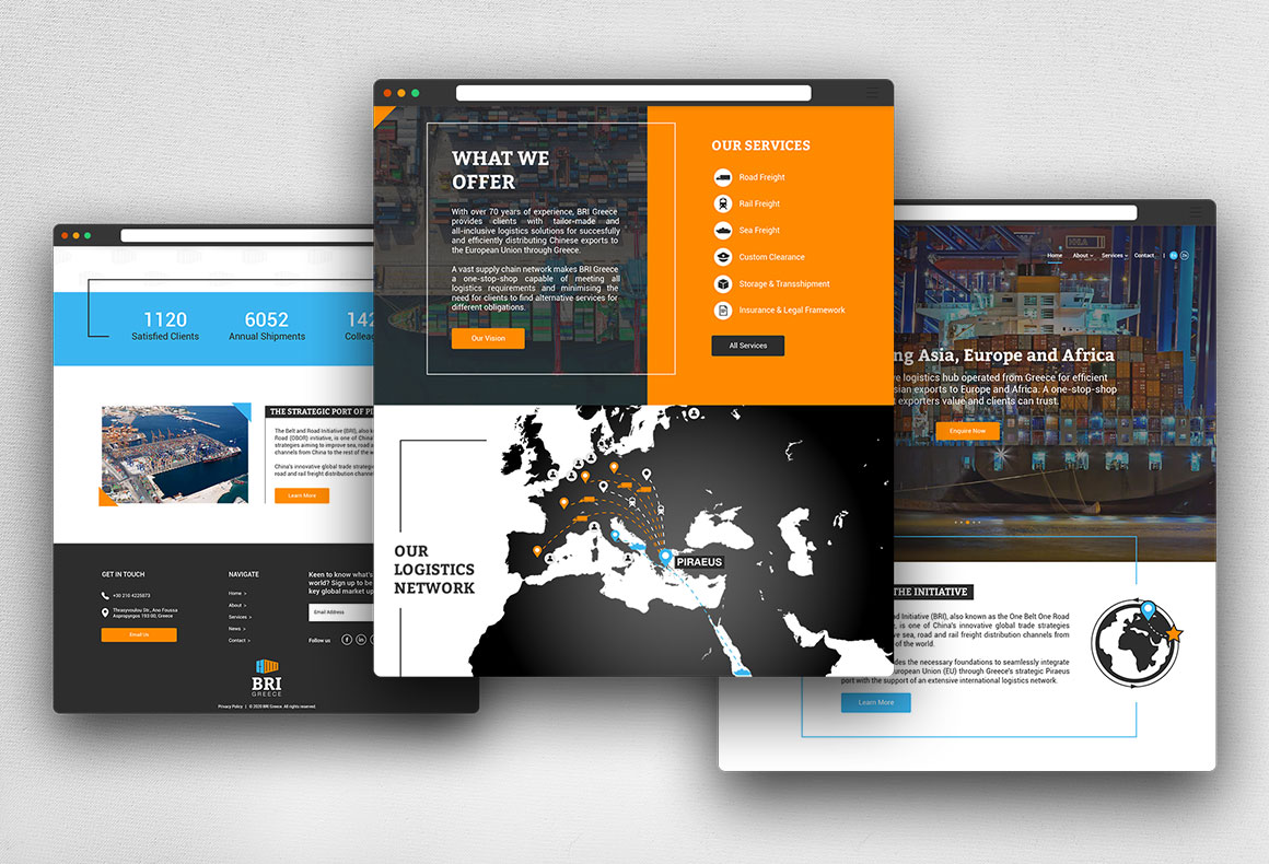 UI/UX responsive web design and development on Webflow for BRI Greece.