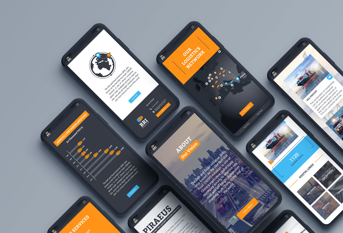 Several i-phones showing the responsive mobile website design for BRI Greece.