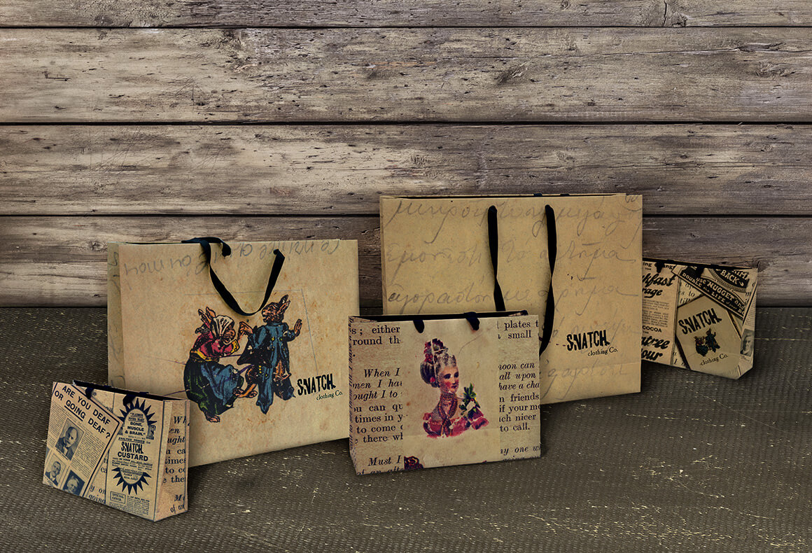 The quirky vintage packaging design for the retail bags of Snatch fashion boutique.
