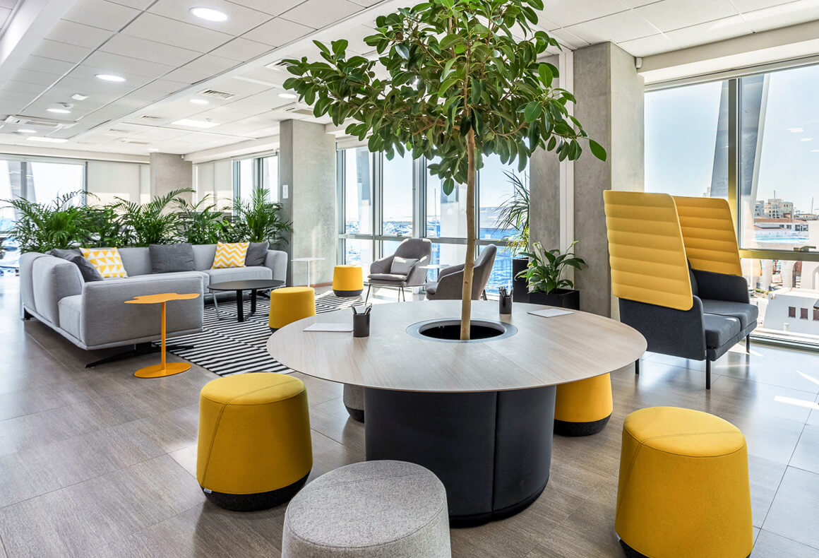 A modern, energized and motivating office design with lots of plants and yellow accents for the forex company Exness.