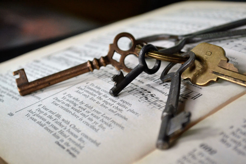 Keys on a book