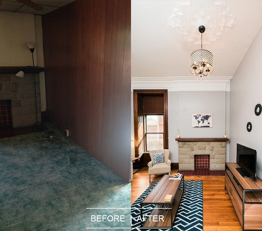 Photo of before and after on living room in Harpster apartment