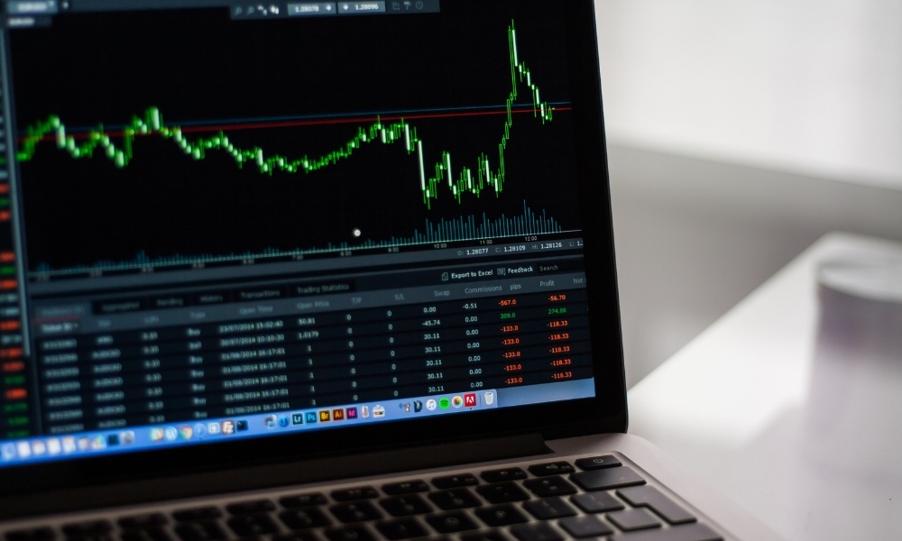 A computer screen that depicts investment performance.