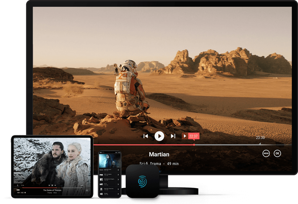 UniqCast Turnkey Solution, multiscreen service on mobile, PC, Smart TV; TV to GO with viewers sharing service, video casting and continue watching on any device; AndroidTV and google certified STBs; Hybrid STB (DVB + OTT in one service)