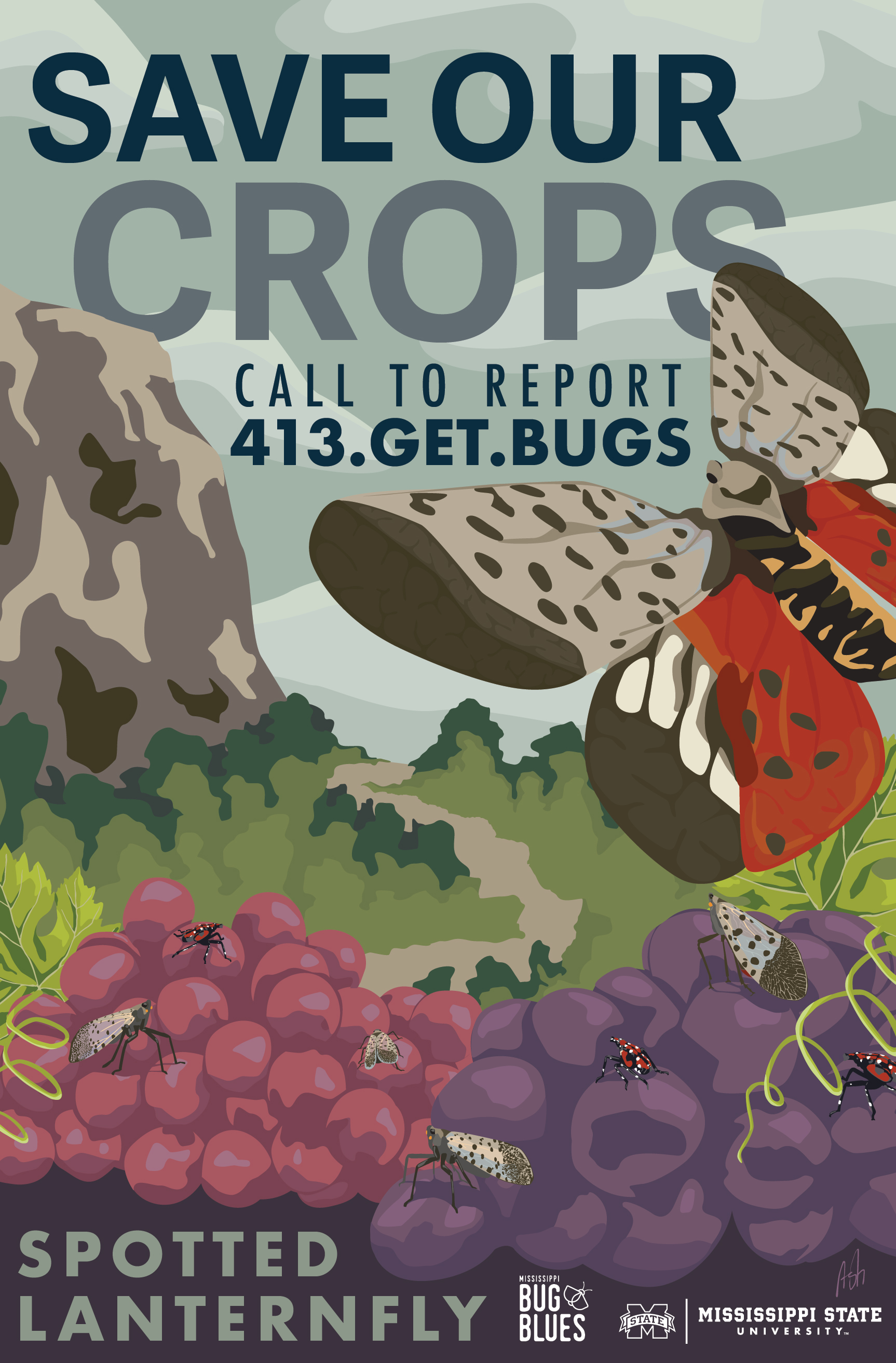 stop the spread invasive insect spotted lanternfly lantern fly awareness WPA crop crops field  grapes get bugs getbugs pdf mississippi bug blues