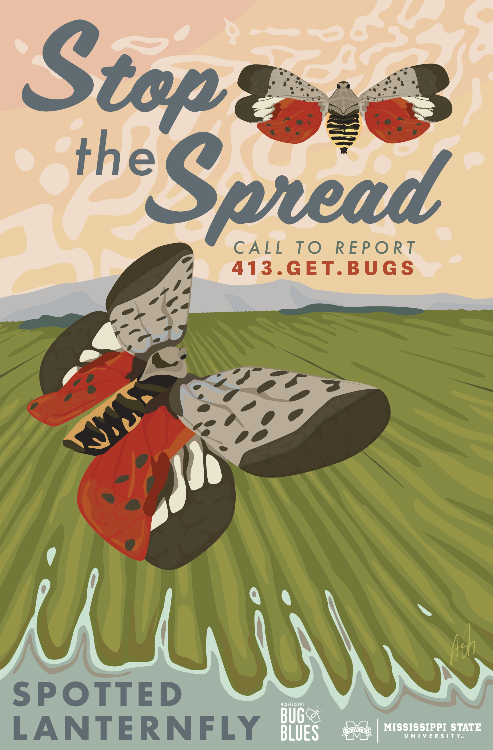 stop the spread invasive insect spotted lanternfly lantern fly awareness WPA crop crops field