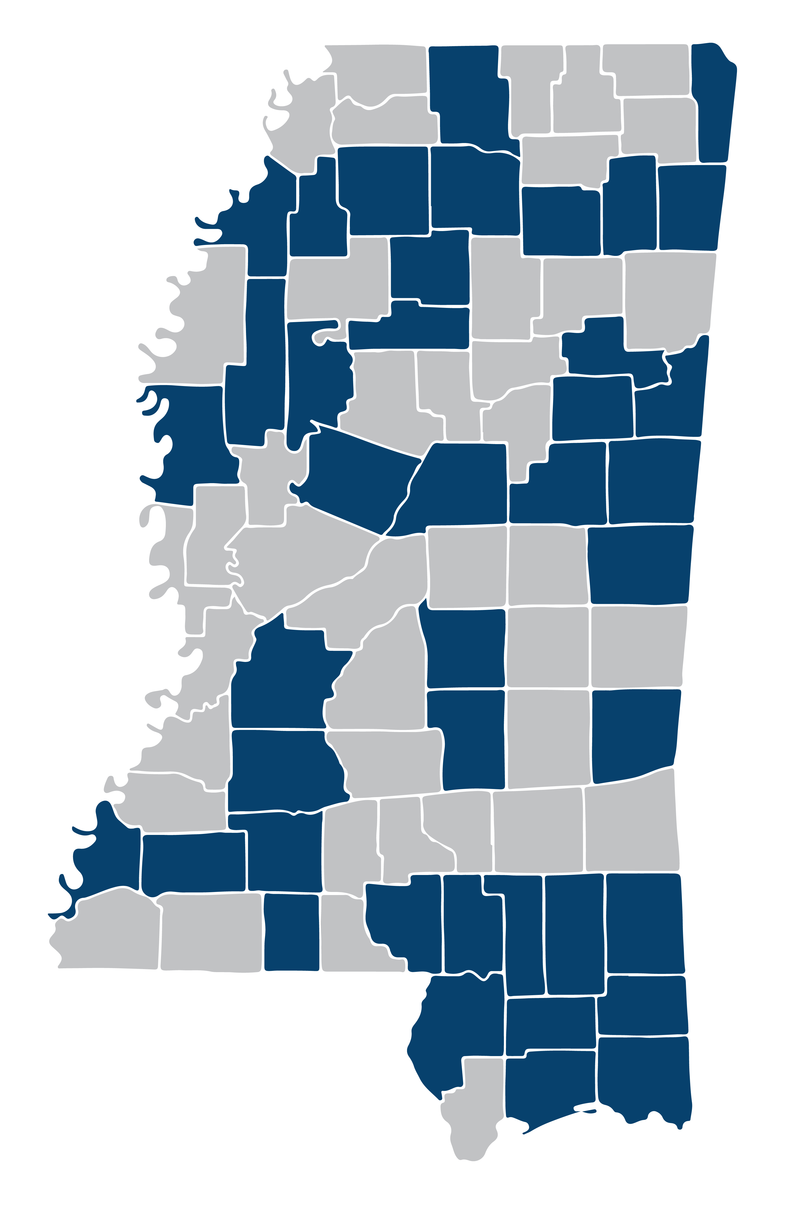 A map of Mississippi with 42 counties highlighted.