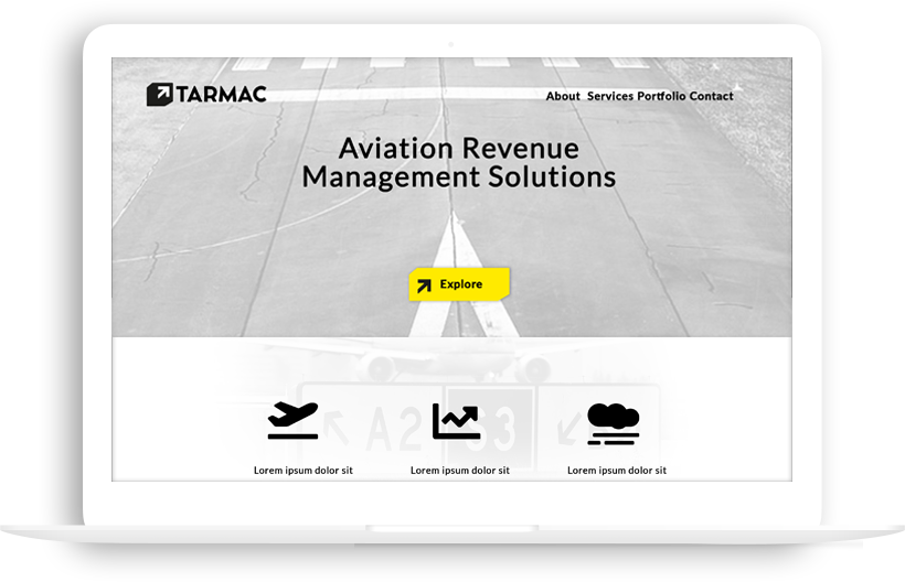 "An image of a computer screen with a black and white website that says ""TARMAC"" in the upper left hand corner. On the bottom left of the screen there is an icon of an airplane. In the middle bottom there is an icon of graph lines. On the bottom right there is an icon of a cloud. In the middle of the website there is a single yellow button that says ""explore"" on it."