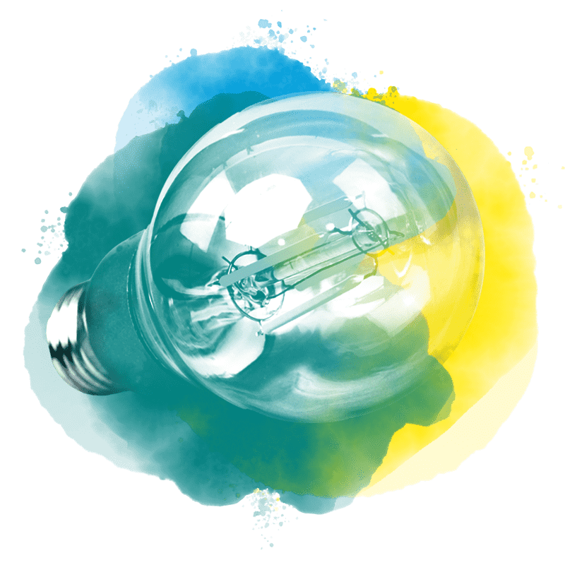 Light bulb with watercolor background