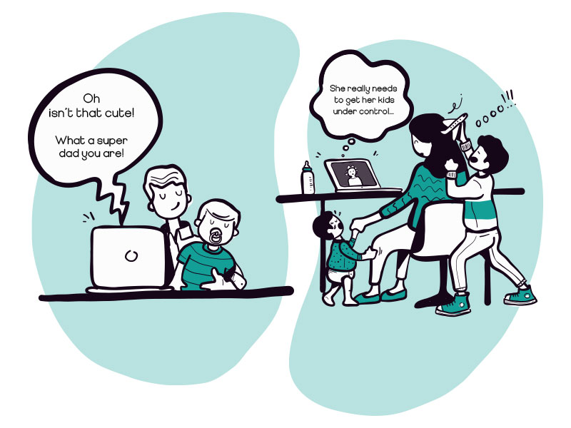 A two paneled illustration of parents working from home. On the left is a man working calmly with a child on his lap, and a laptop at his desk. The right illustration is of a woman working from home, frazzled, with a laptop on the table and two children next to her. One child is crying and one playing behind her.