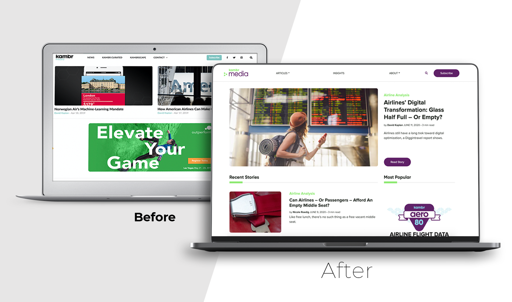 Kambr Media before and after web design by Yellow Cat Five