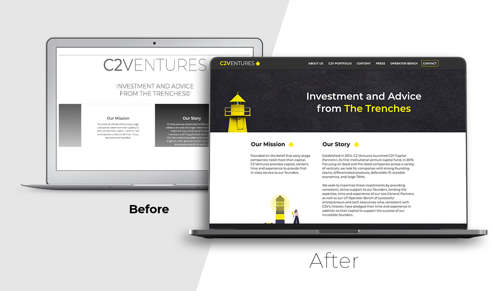 C2 Ventures web design before and after