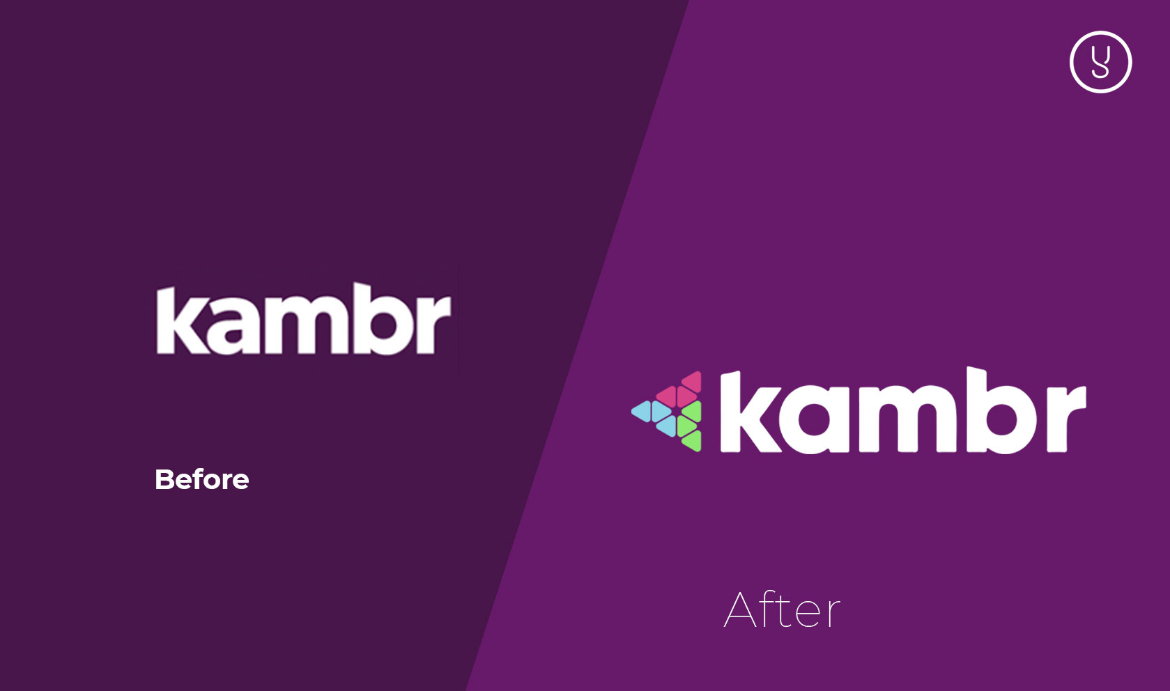 Kambr logo before and after designed by Yellow Cat Five