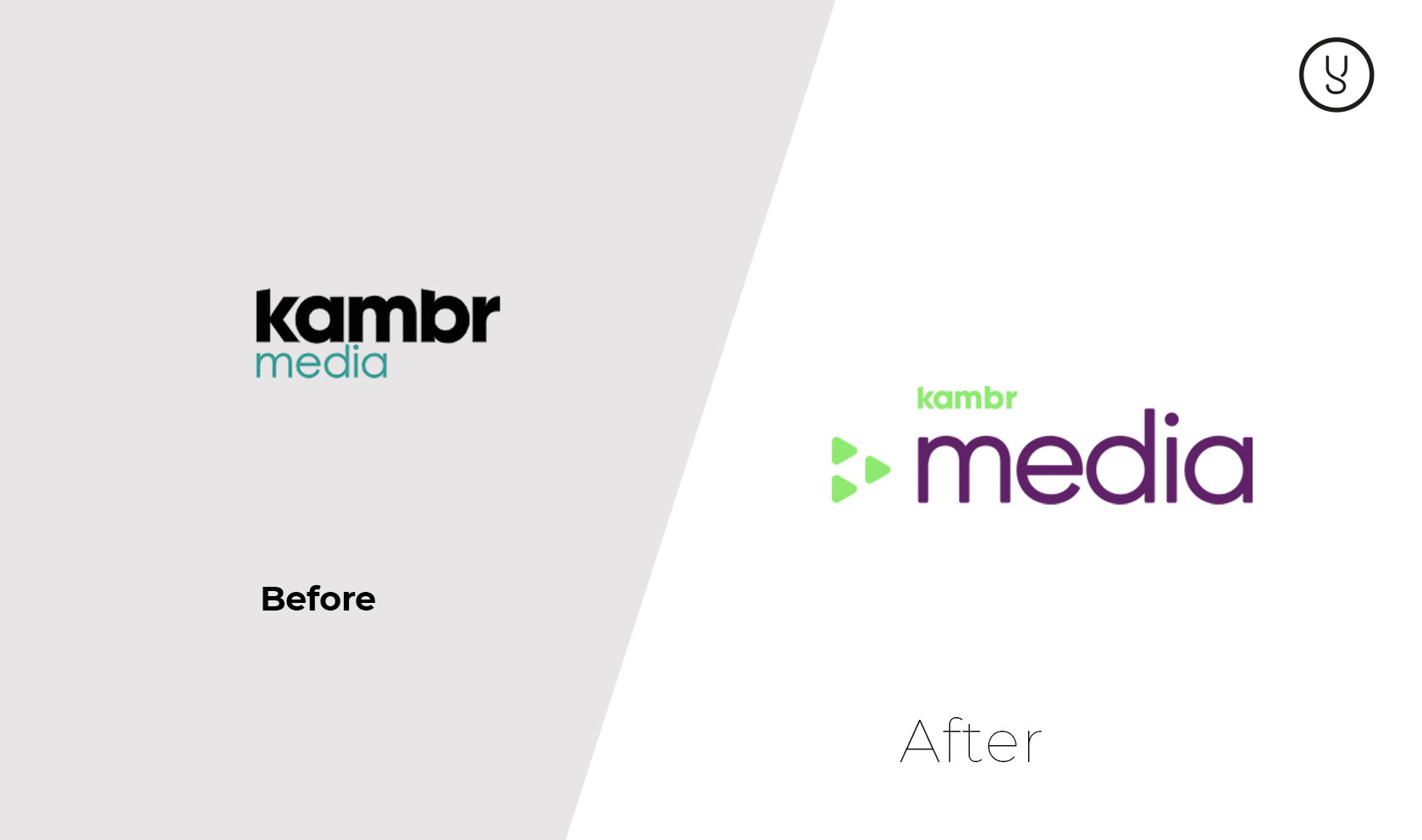Kambr Media before and after logo design by Yellow Cat Five