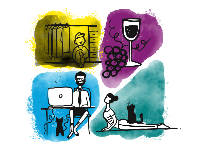 Illustration split into a quadrant. Top left is a child in a closet, top right is an illustration of a glass of wine, lower left is an illustration of a man working at a desk with a laptop without pants, bottom right is an illustration of a woman doing yoga with a cat on her back.