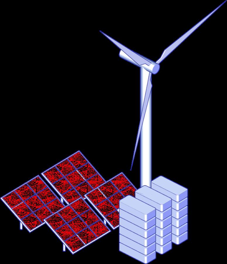 Ilustrace solárních panelů, baterií a větrné elektrárny