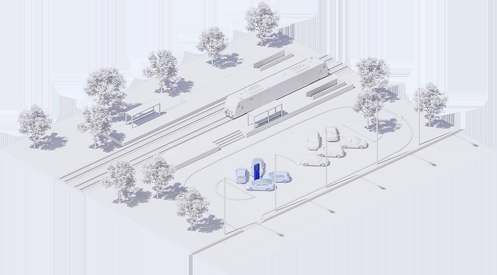 Axonometrie parkoviště u nádraží