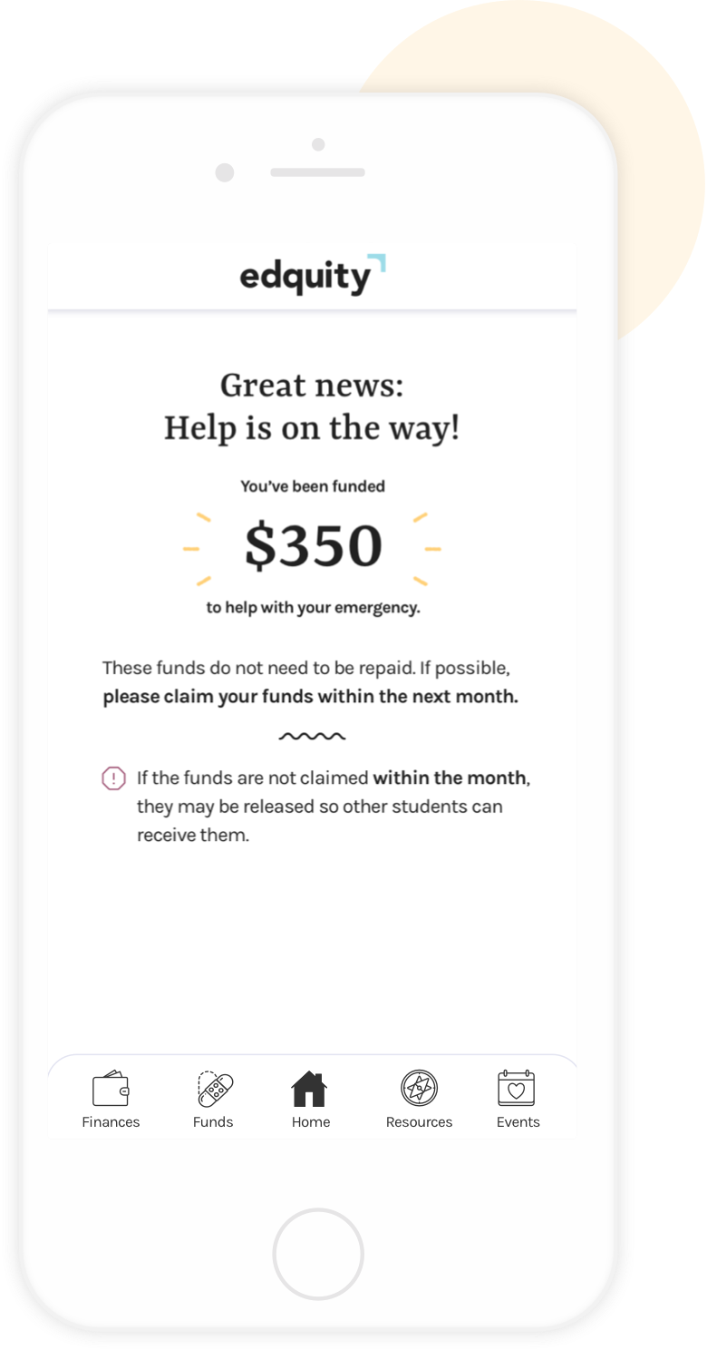 "A phone with screen text: ""Great news: Help is on the way! You've been funded $350 to help with your emergency."""