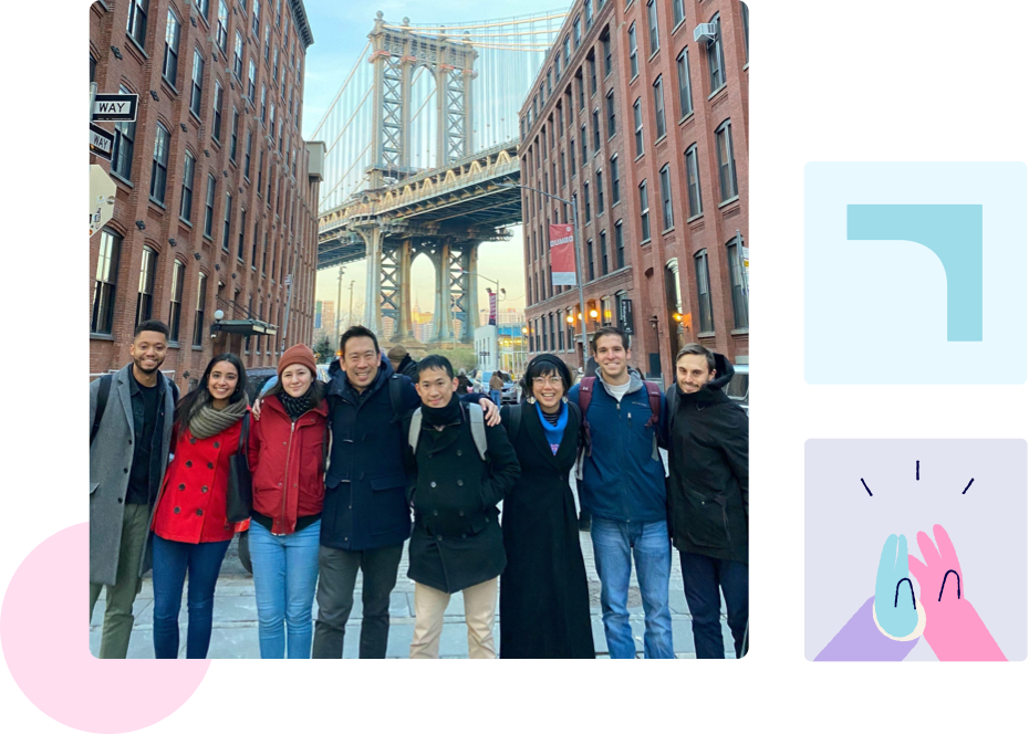 The Edquity team with the Manhattan Bridge in the background