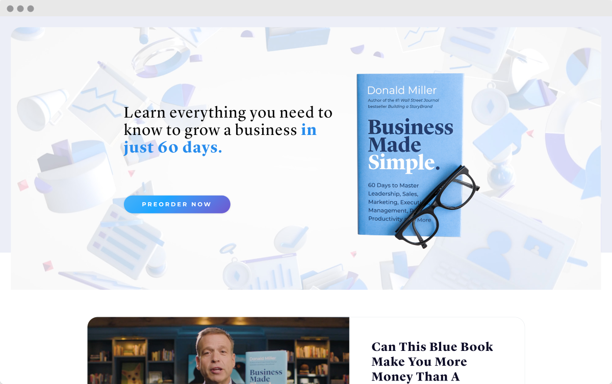 StoryBrand Website Example 10 - Business Made Simple Book