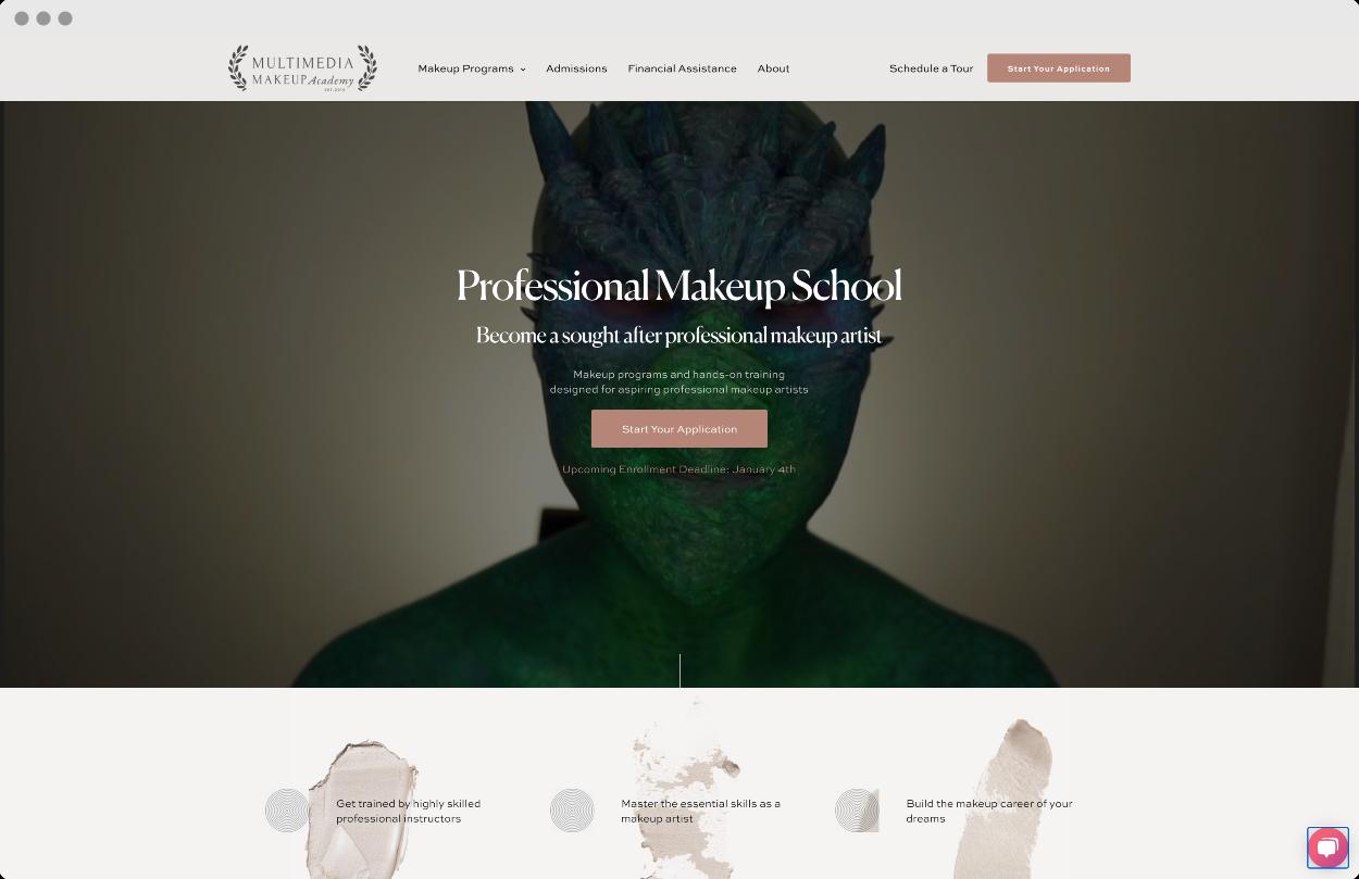 StoryBrand Website Example #3 – Makeup school