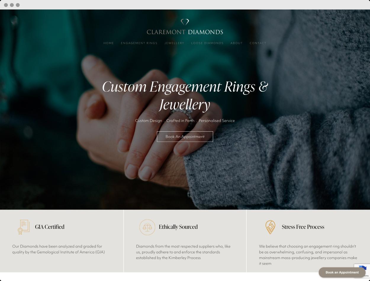 StoryBrand Website Example #5 – Claremont Diamonds