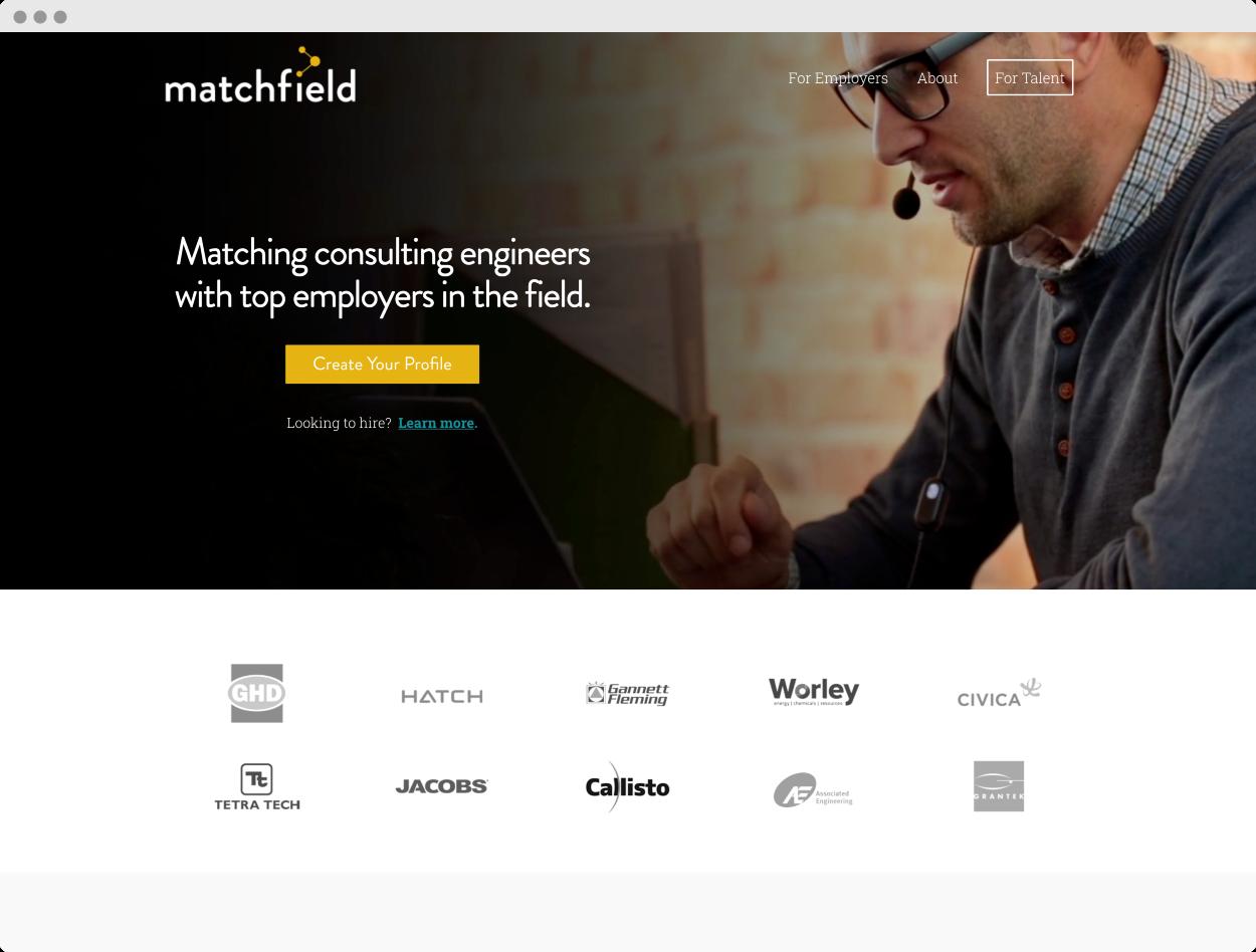 StoryBrand Website Example #8 – Matchfield