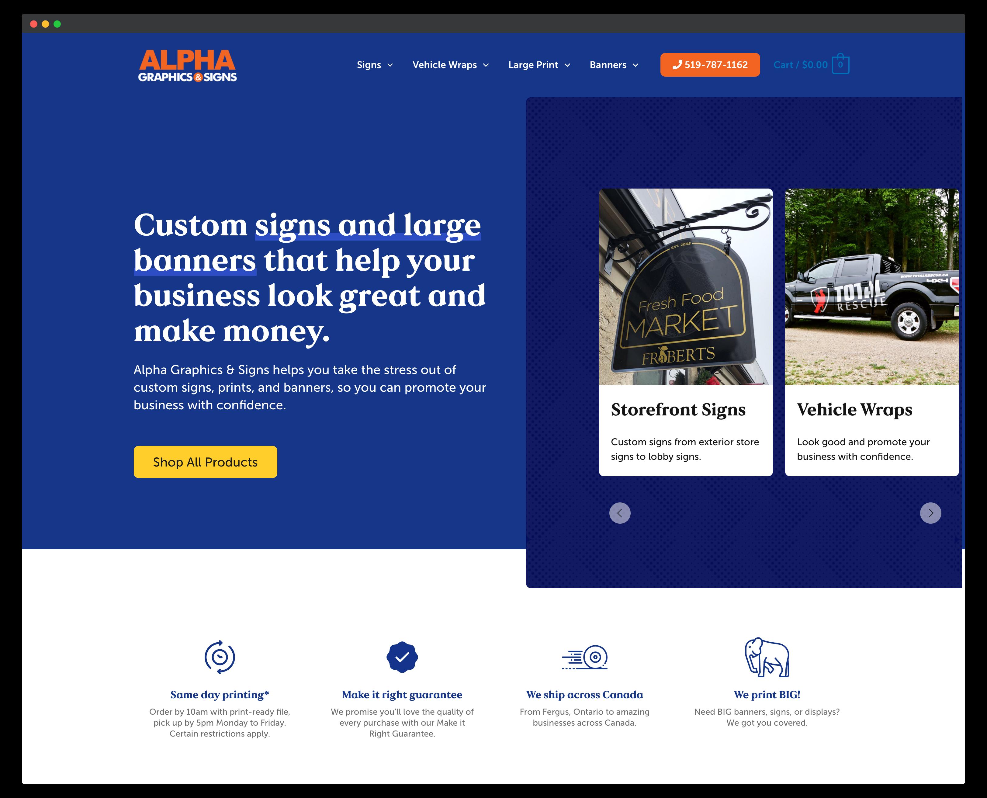 Storybrand website example - Alphagraphics.ca