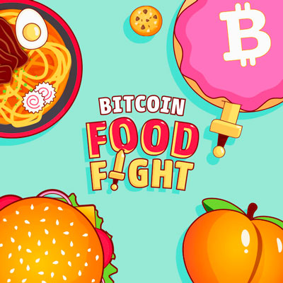 Bitcoin Food Fight, trow knife to  pizza, fruit, and more