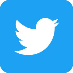 twitter logo: blue background with a white bird facing right