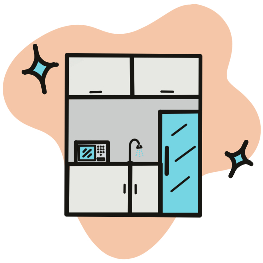 cartoon drawing of a kitchenette